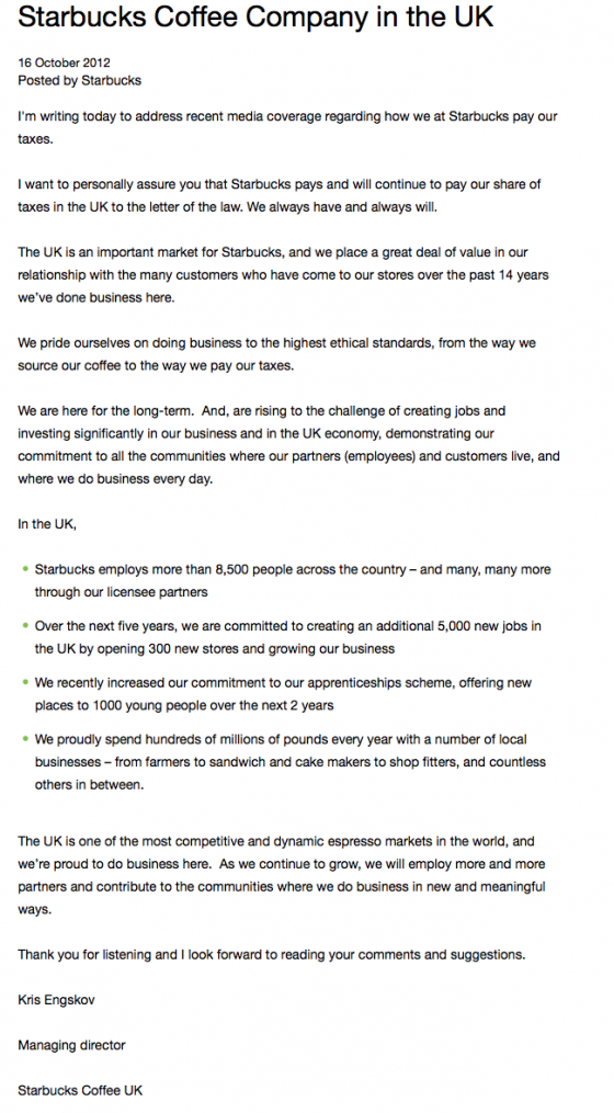 Starbuck letter of apology UK